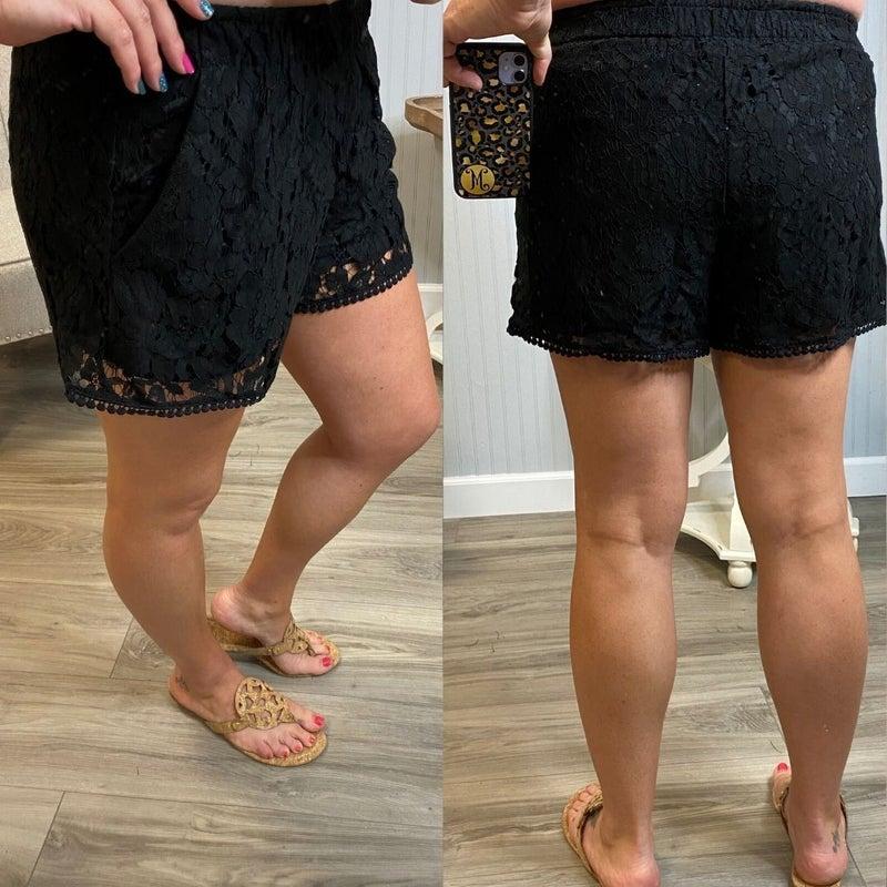 Black Lace Trim Shorts