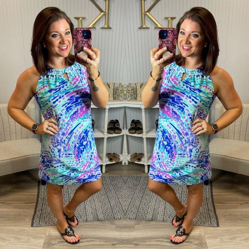 Lucy Mint Pattered Keyhole Shift Dress
