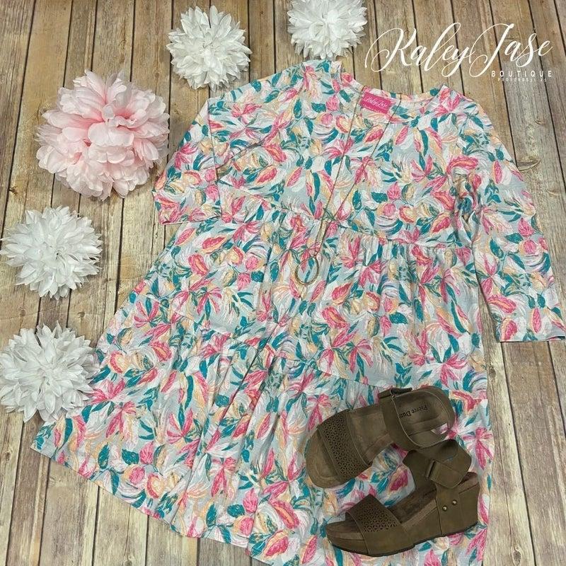 HM Grey Pink Palm Tiered Dress