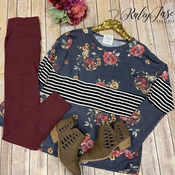 SIL Floral Stripe Colorblock Top