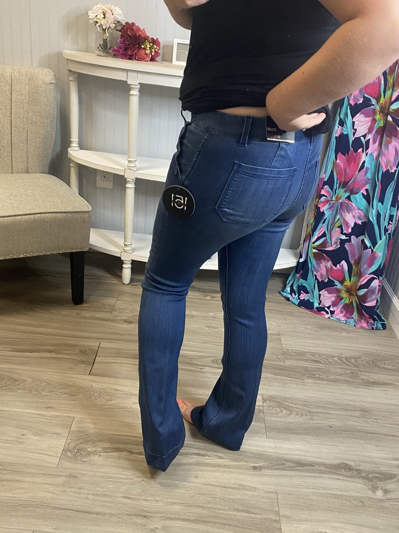 One5One Medium Wash Button Pocket Bootcut Jeans