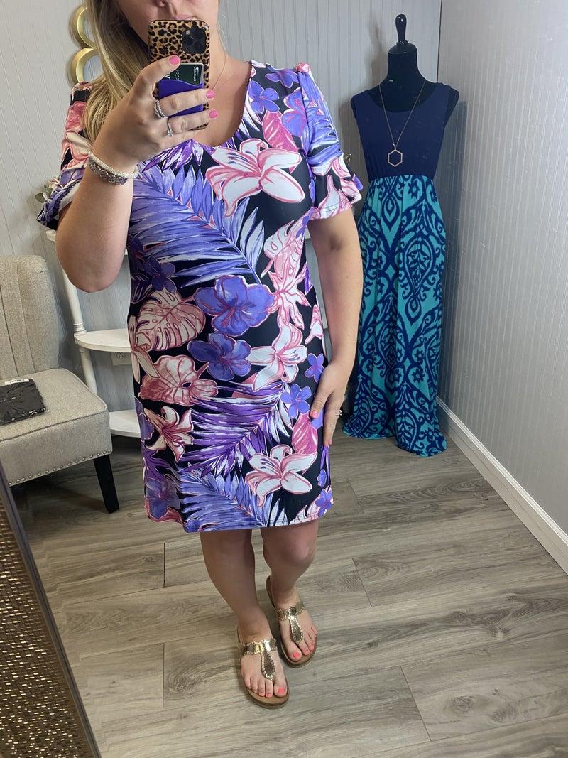 Aryeh Black Lavender Hibiscus Palm Brynn Ruffle Sleeve Dress
