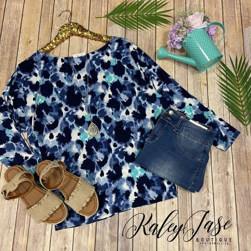 WB Navy Mint Painted Slouchy Top