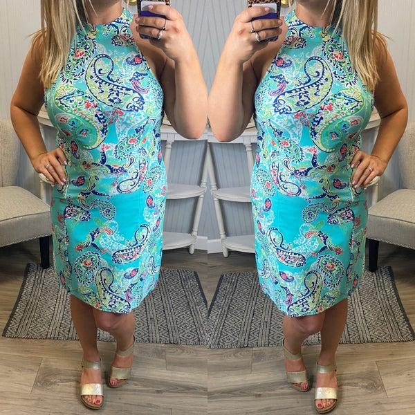 Aryeh Aqua Paisley Dress