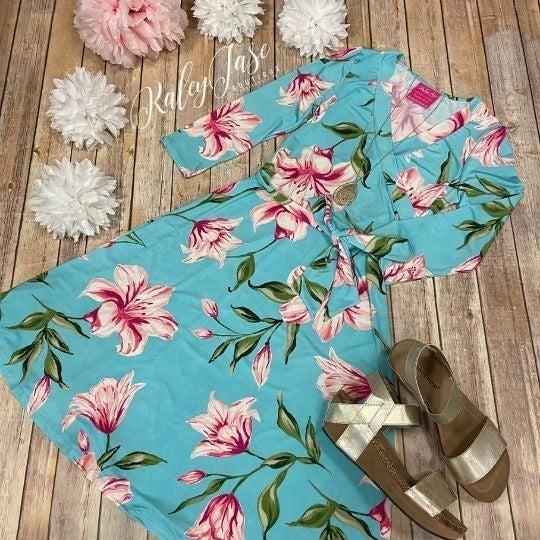 John 3:16 Mint Lily Flower Wrap Short Dress