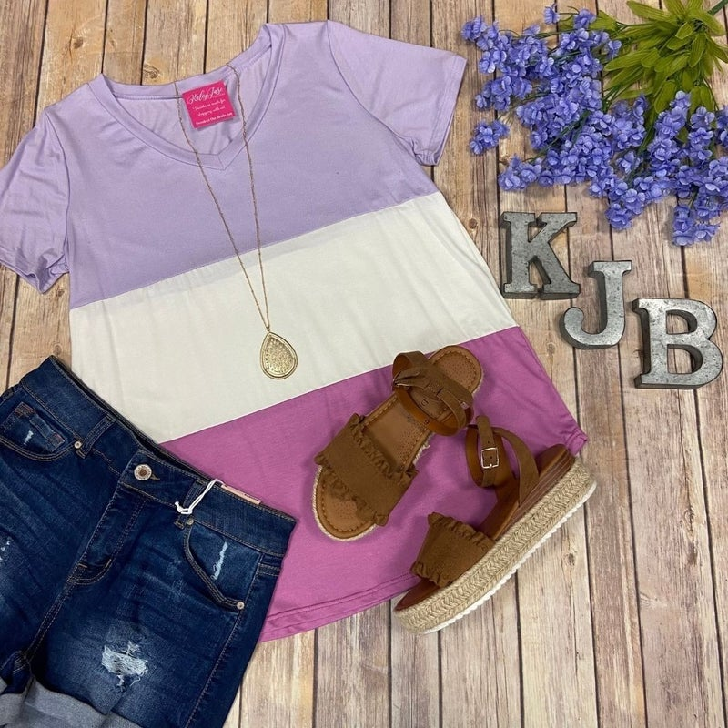 SIL Lavender Thick Stripe Colorblock Top