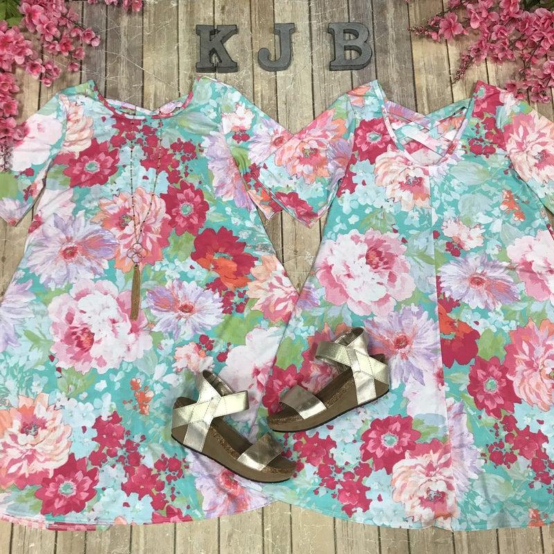 Flower Print Criss Cross Back Dress