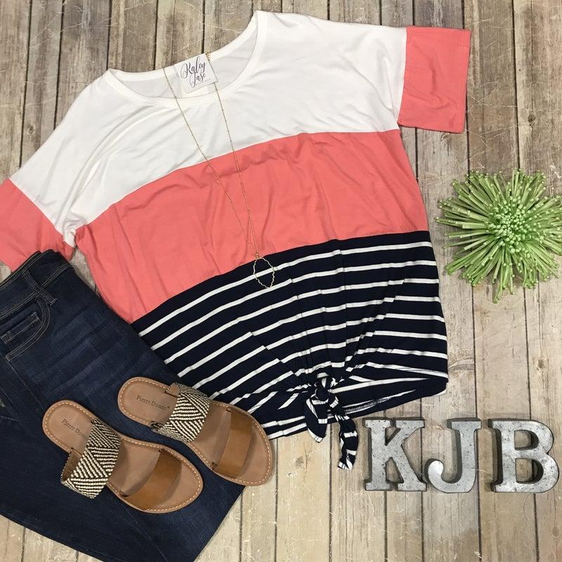 Coral Stripe Tie Top