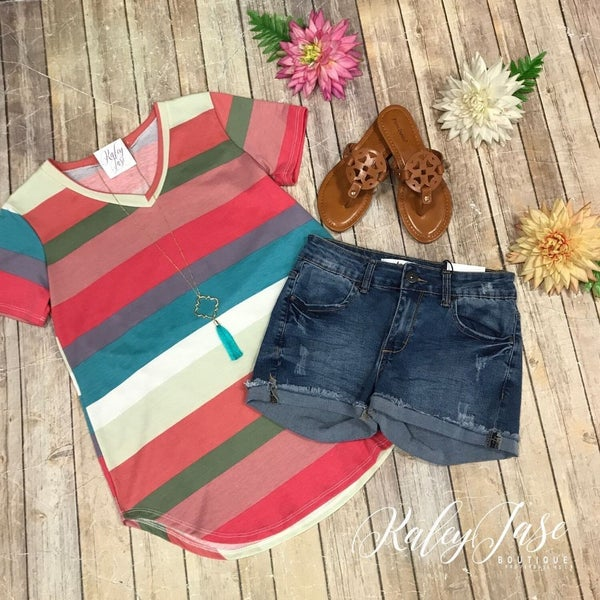 Multi Stripe Vneck