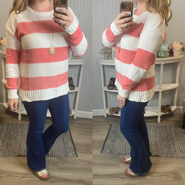 Ivory Coral Ribbed Stripe Sweater