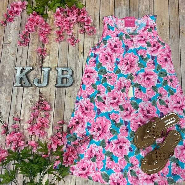 HM Bright Mint Pink Flower Sleeveless Dress