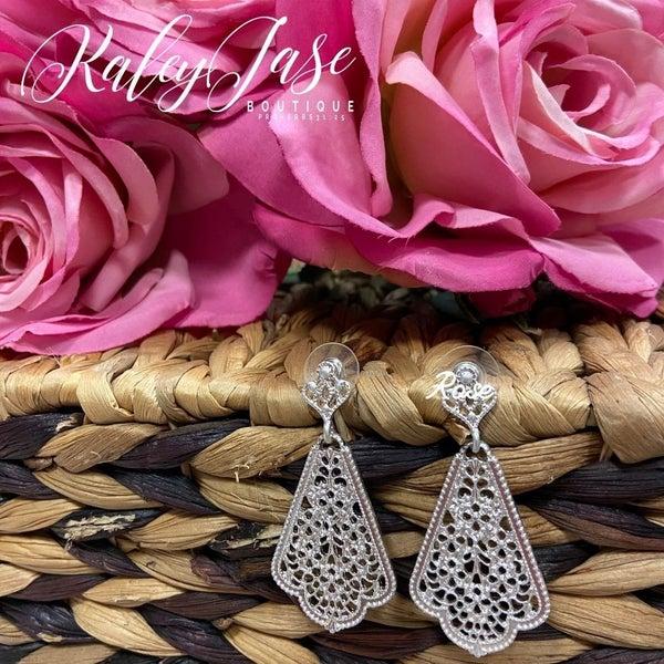 Silver Chandelier Dangle Earrings -C3