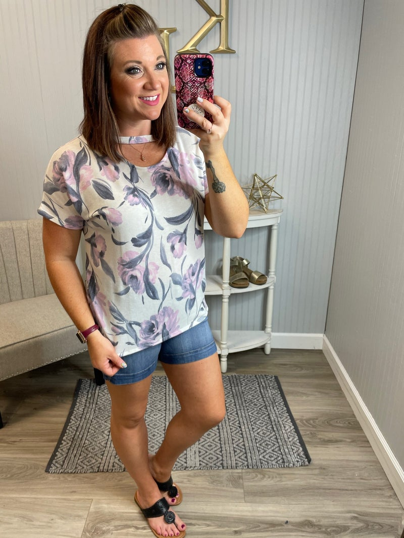 SIL Ivory Blush Floral Keyhole Top