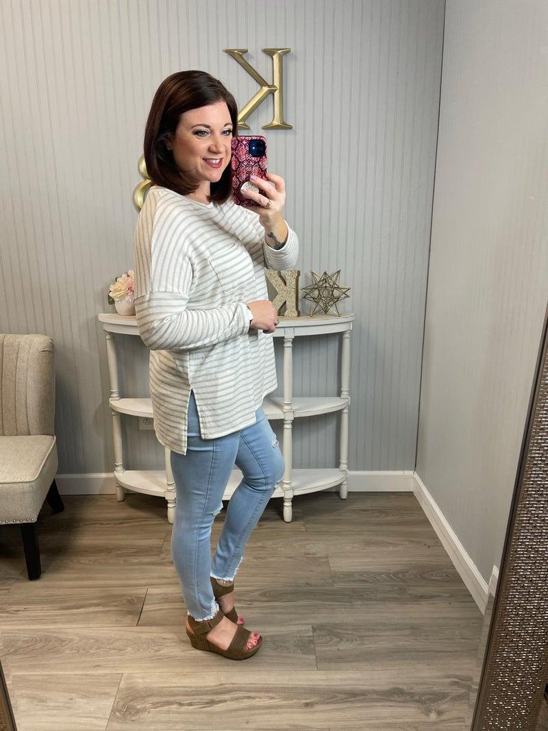 Grey White Stripe Knit LS Pocket Top