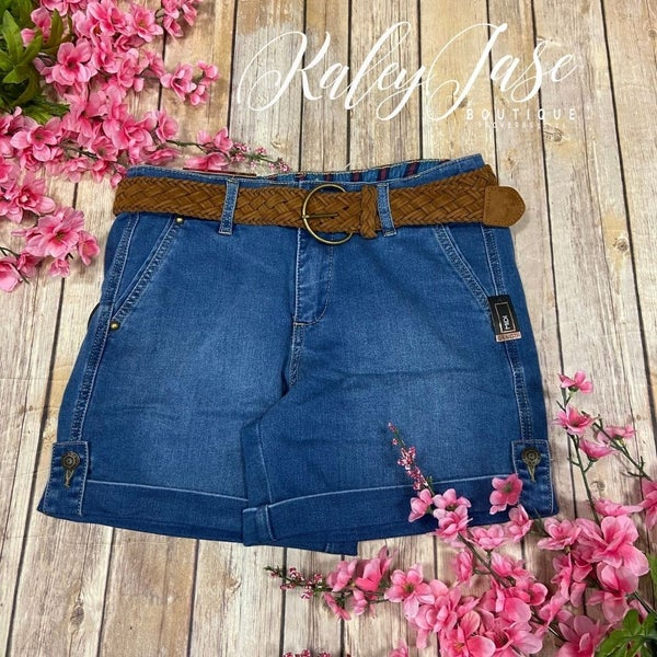 One5One Dark Wash Belted Jean Shorts