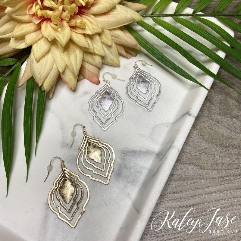 Inner Ornate Shaped Dangle Earrings -A6