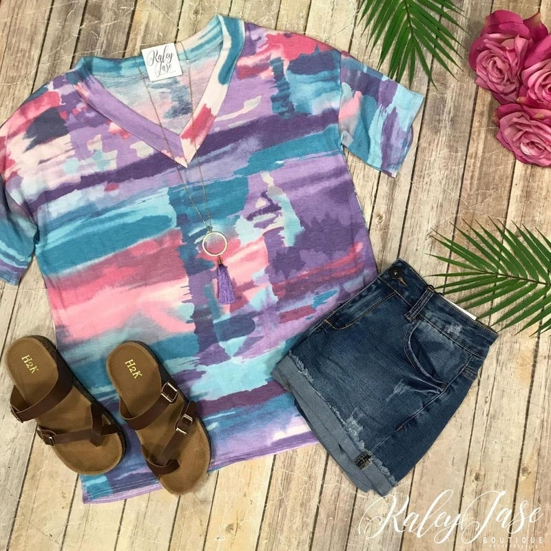 Abstract Colorful Vneck *Final Sale*