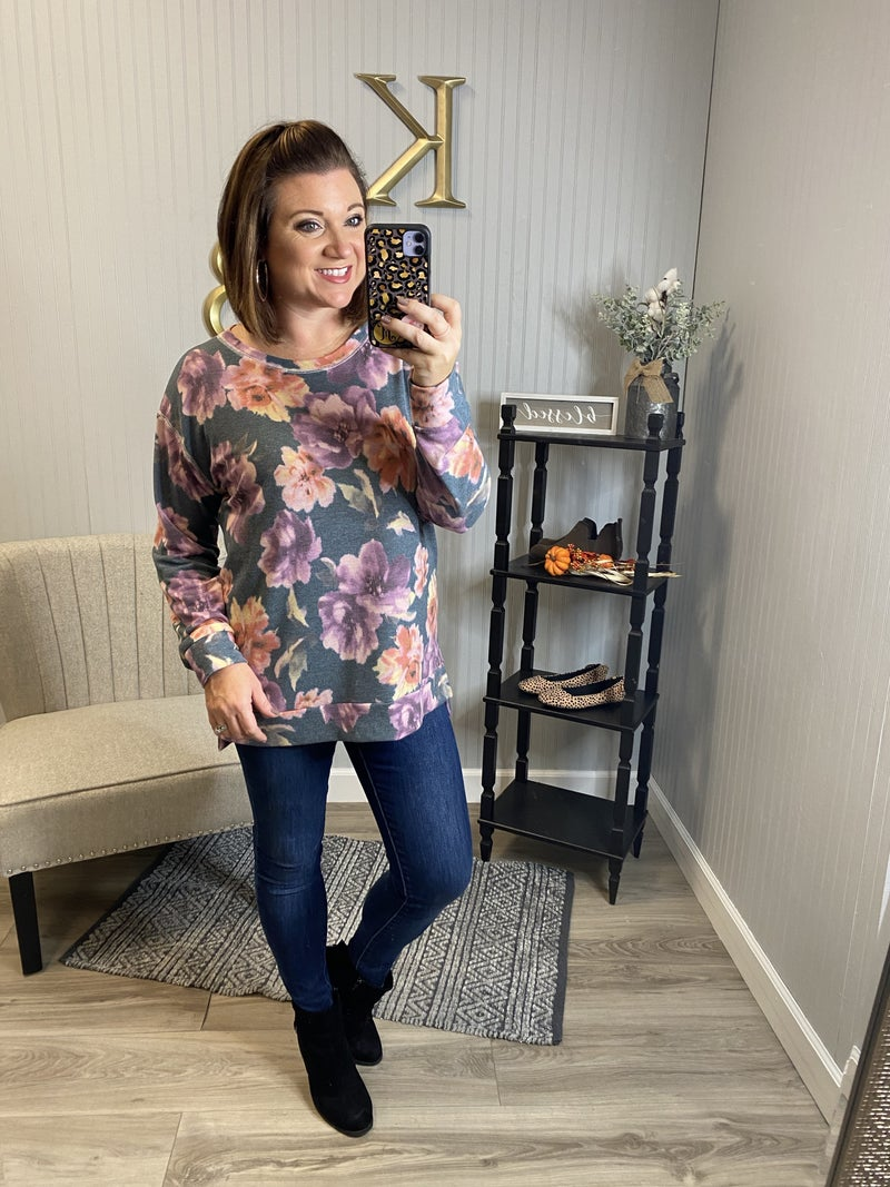 SIL Charcoal Lavender Floral LS Top