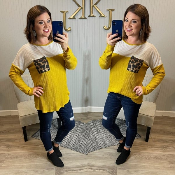 B Mustard Leopard Pocket  Top