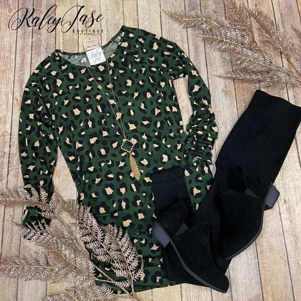 Olive Leopard Ruched Side Tunic Top