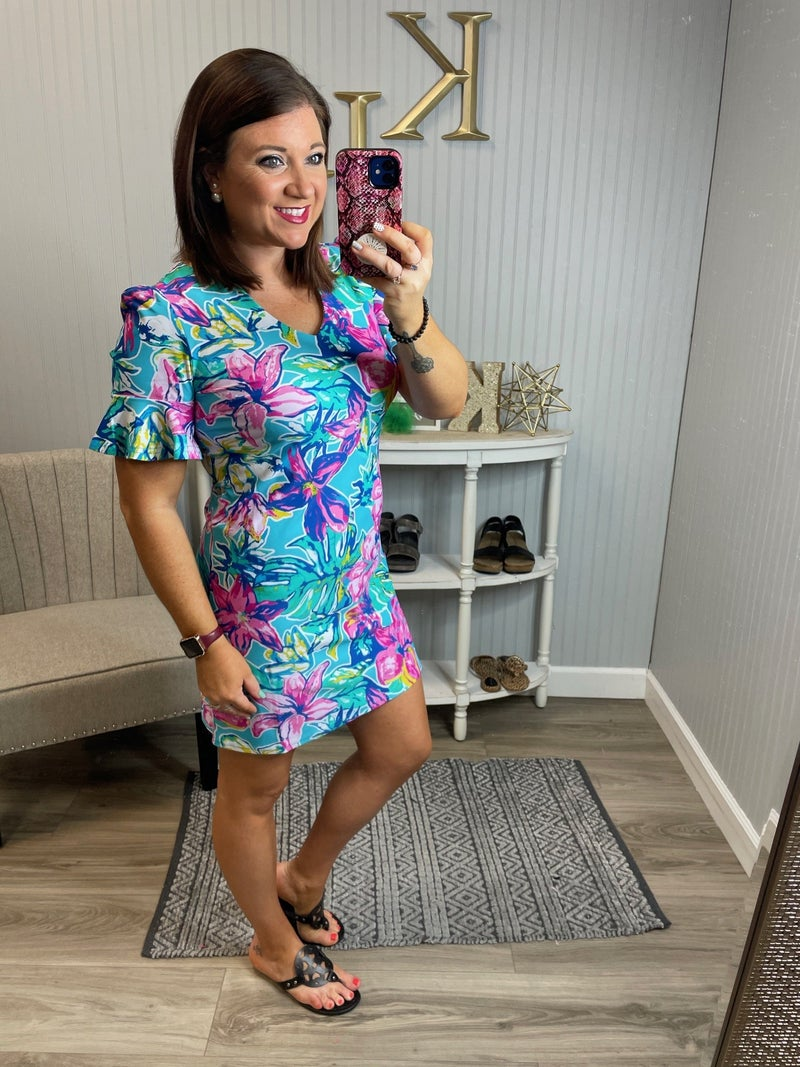 Brynn Bright Tropical Ruffle Sleeve Dress