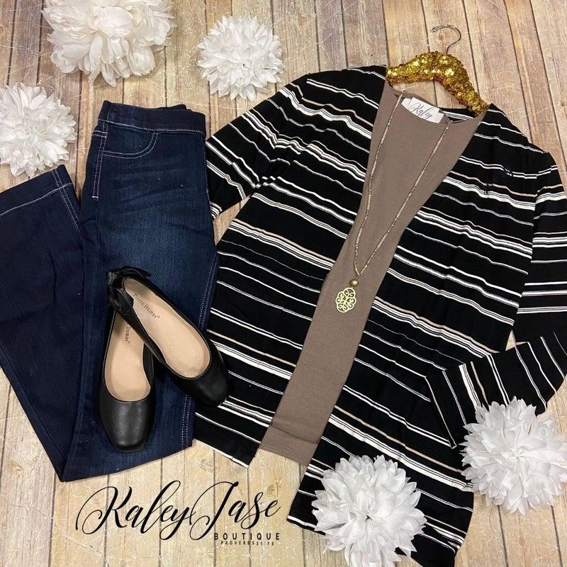 Black Ivory Mocha Stripe Cardigan