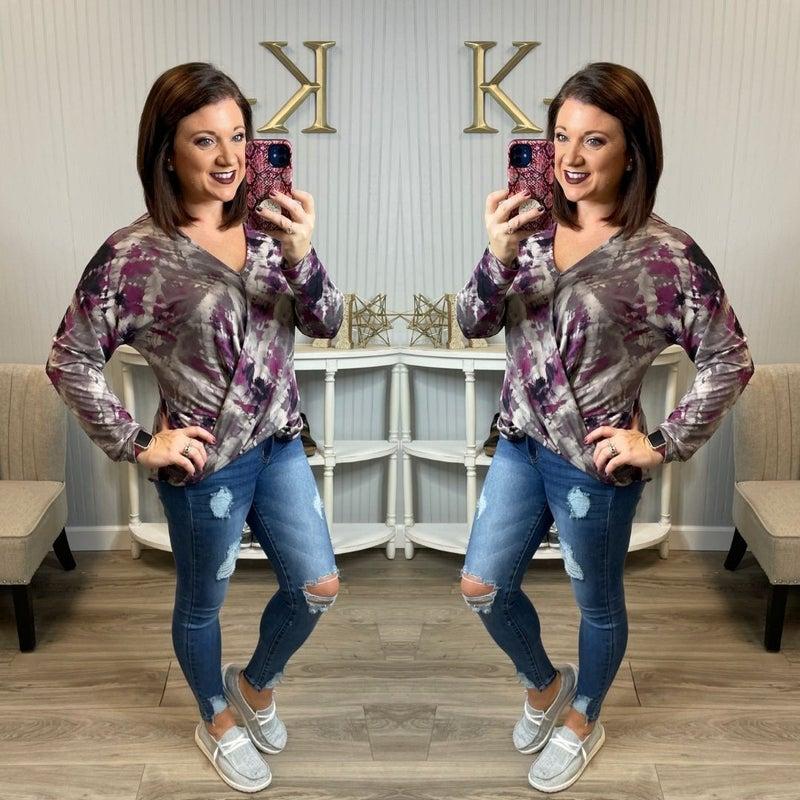 WB Grey Lavender Painted Dressy Wrap Top *Final Sale*