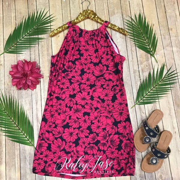 Fuchsia Floral Print Keyhole Dress