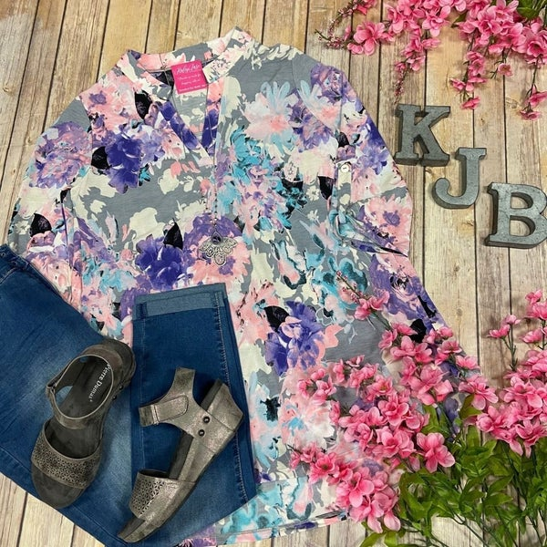 SIL Grey Pink Bright Floral Gabby Top