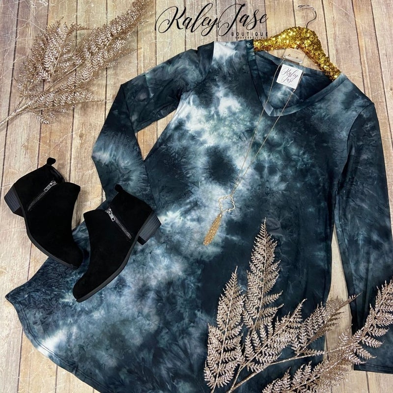 Black Ivory LS Tie Dye Dress