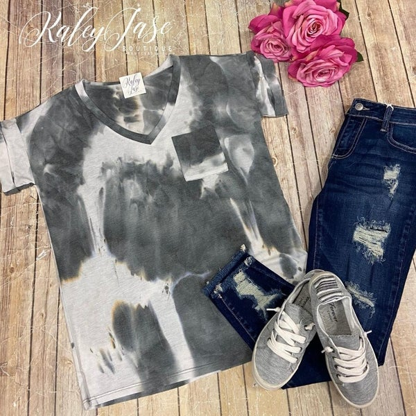 Grey Tie Dye Pocket Top
