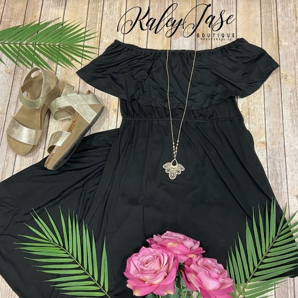Off Shoulder Ruffle Maxi