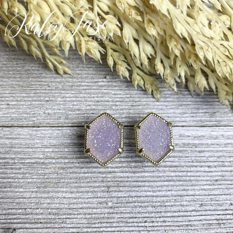 Lavender Druzy Hexagon Studs -A7