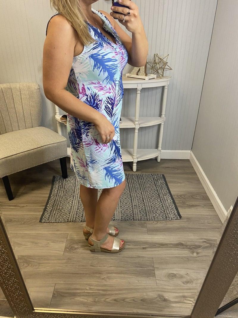 Aryeh Mint Blue Tropical Vneck Dress