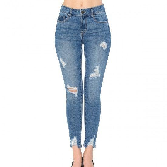 Pushup Medium Wash Distressed Skinny Jeans