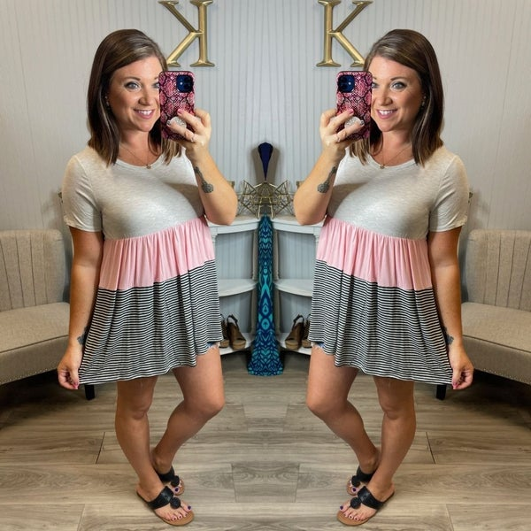 HM Heather Colorblock Tiered Top
