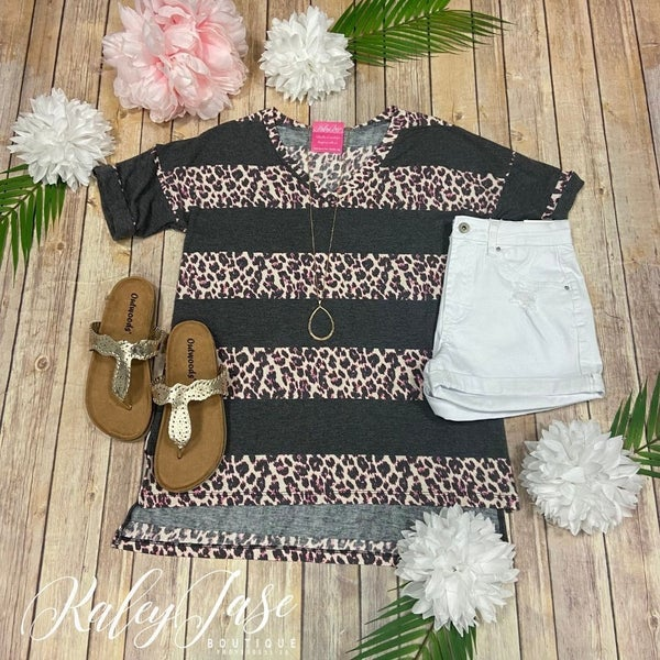 SIL Charcoal Pink Leopard Stripe Top