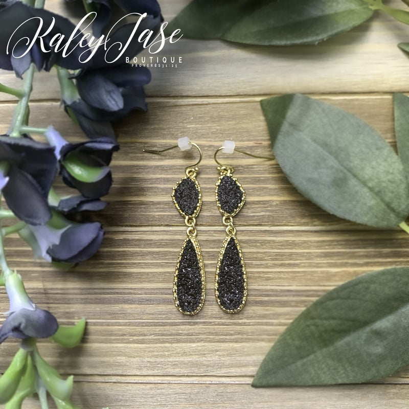 Black Dangle Druzy Earrings -B4