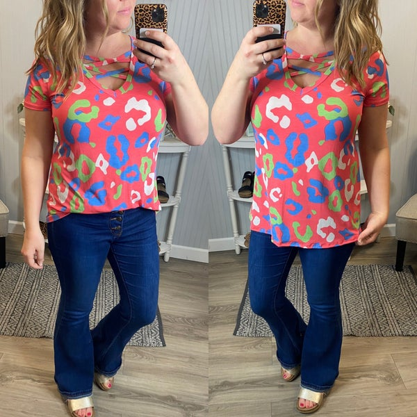 SIL Coral bright Leopard Criss Cross Top