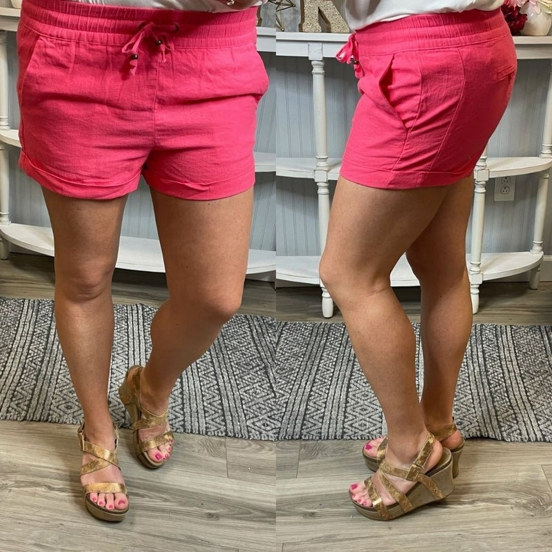 Elastic Drawstring Linen Shorts