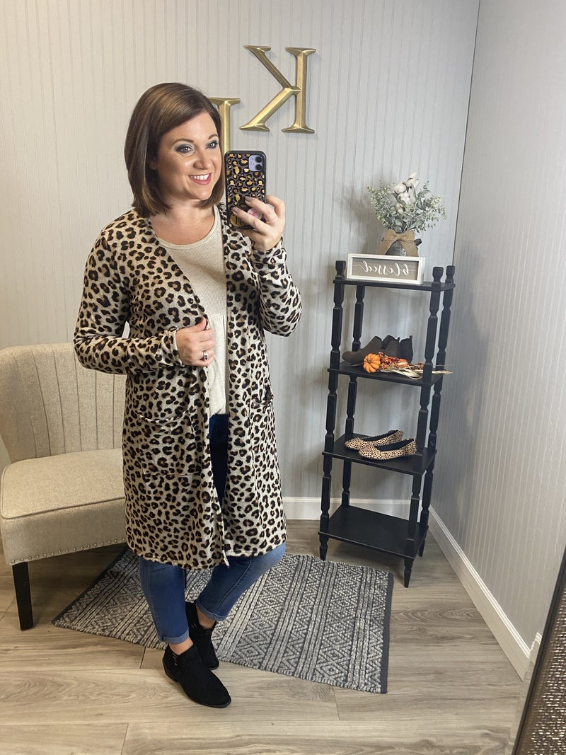 SIL Oatmeal Leopard Pocket Cardigan