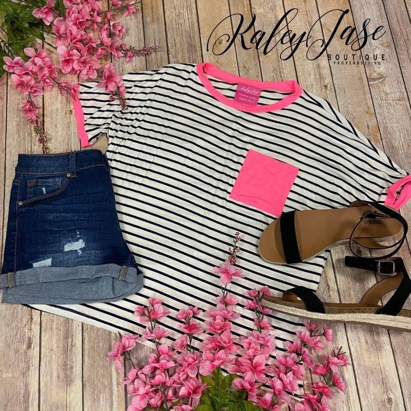 SIL Ivory Black Striped Neon Pocket Top