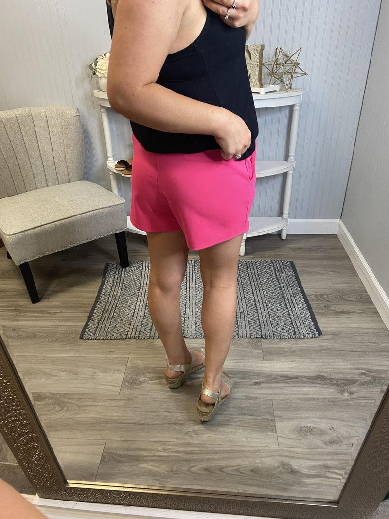 Solid Pink Pleated Shorts