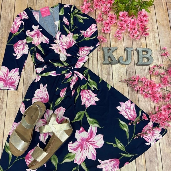 John 3:16 Navy Lily Flower Wrap Short Dress