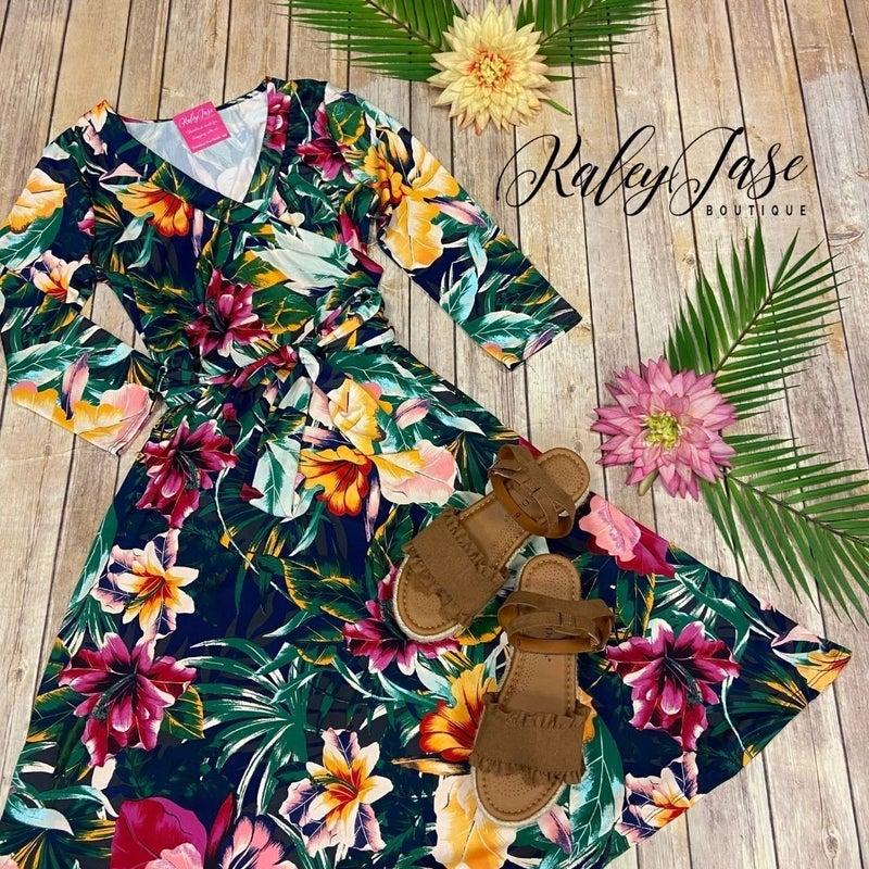 John 3:16 Bright Tropical Wrap Short Dress