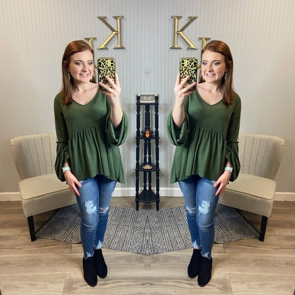 SIL Olive Waffle Bell Sleeve Top