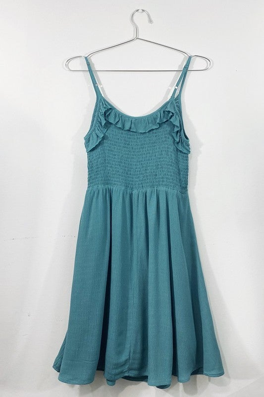 Ruched Ruffle Spaghetti Strap Dress (2 Colors)