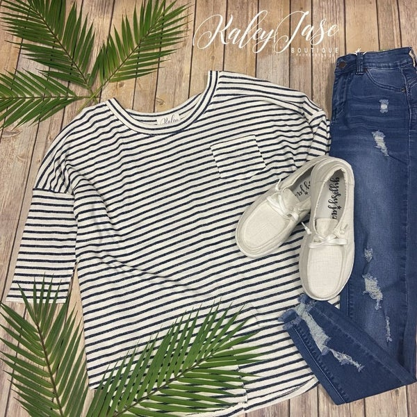 Navy Ivory Stripe Pocket Top