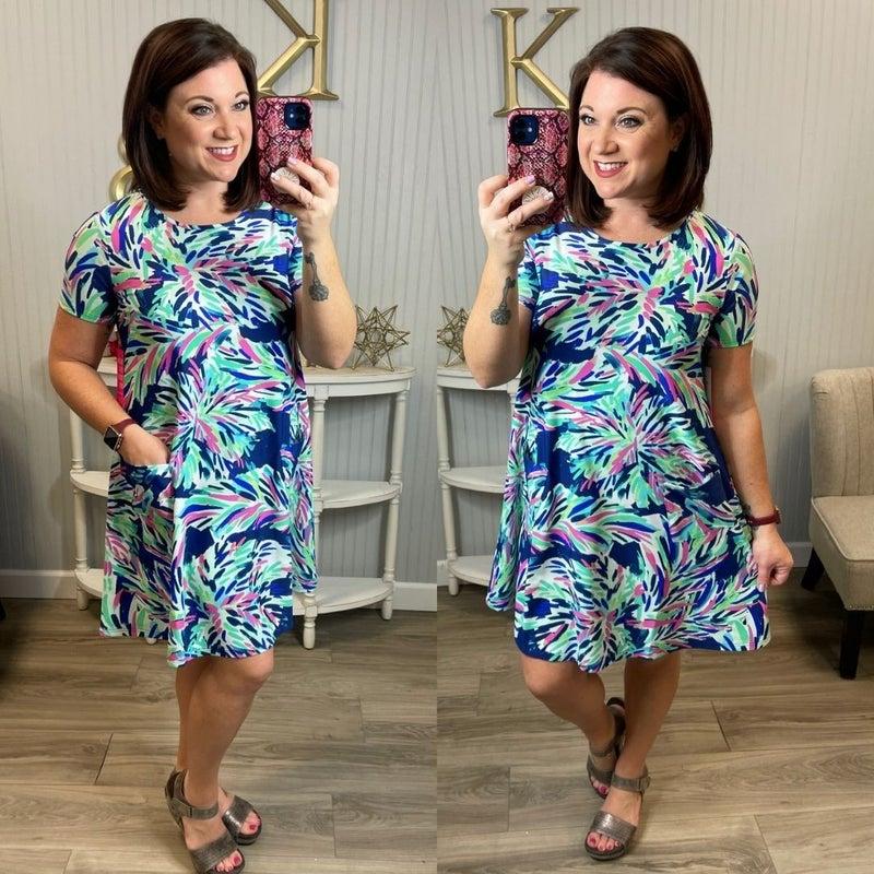 Bright Printed Pocket Swing Dress