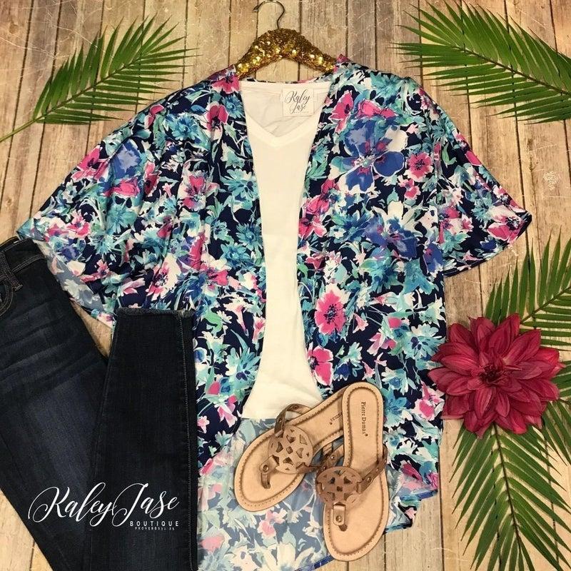 Blue Tropical Leaf Kimono *Final Sale*